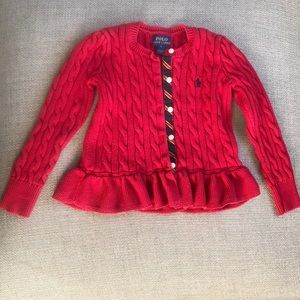 Polo Ralph Lauren Girls Red Sweater Size 5